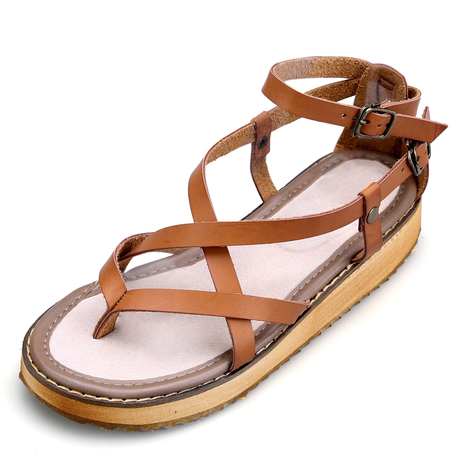 Smilun Girl's Fashion Strappy Roman Sandals Wedge Sandals Flip Flops Thongs Open Toe Sandals Flip Flops Roman Sandal Summer Sandals Brown US6