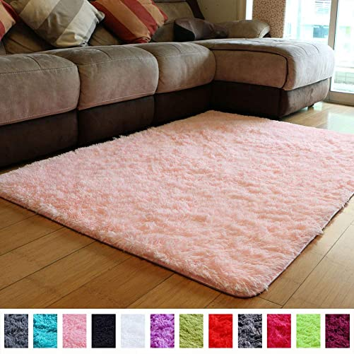 PAGISOFE Soft Girls Room Rug Baby Nursery Decor Kids Room Carpet 4' x 5.3',Pink