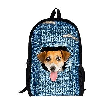 1719c644f1 Cartoon School Backpack 3D Animal Denim Pattern Printing Backpack  Waterproof Zipper School Bookbags for Student
