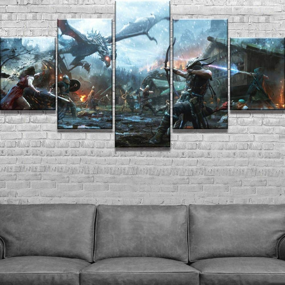 XIAOAGIAO 5 Canvas Prints 5 Piece Canvas Painting Elder Scrolls v Skyrim Cuadros Landscape Canvas Wall Art Home Decor for Living Room Unique Gift Wall Paintings on Canvas