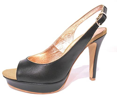 6671ebacc5ffb Scarpe donna sandali neri in pelle chanel spuntati tacco alto e plateau n°  40 Cafènoir NC202  Amazon.it  Scarpe e borse