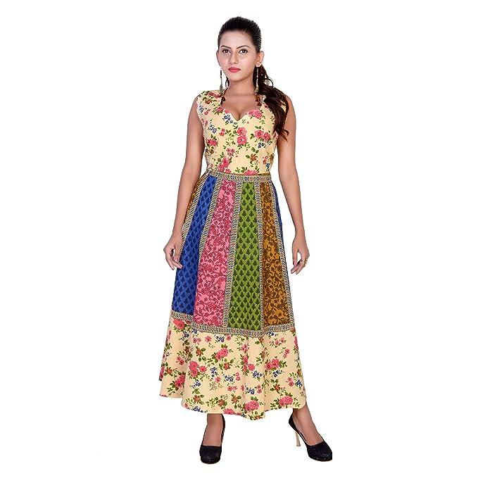 37fcf4ab Eagle Eye Outfitters Cotton Women's Maxi Long Dress Jaipuri Printed ...