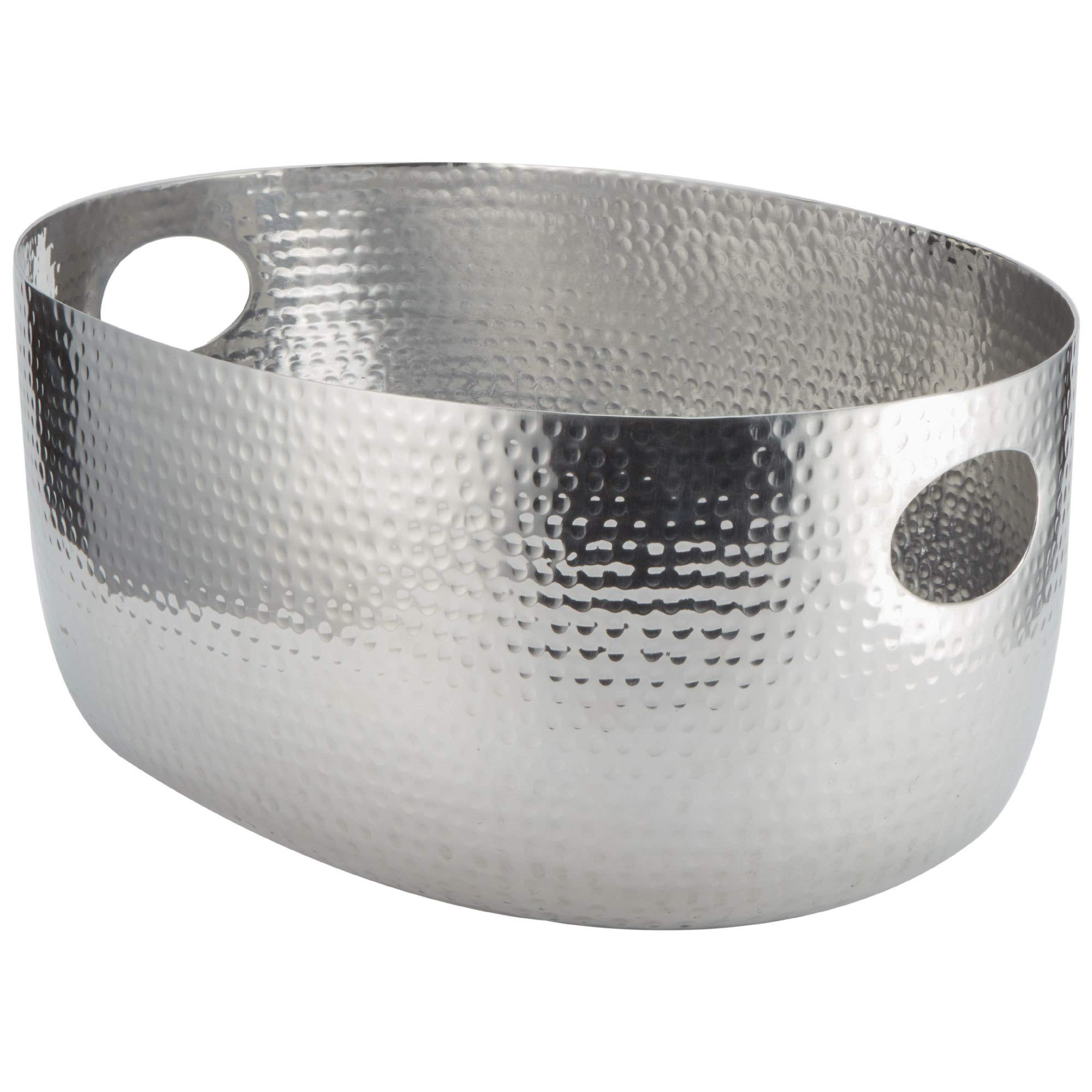 TableTop King ATHS14 Silver Hammered Aluminum Beverage Tub - 19'' x 14'' x 8 1/4''