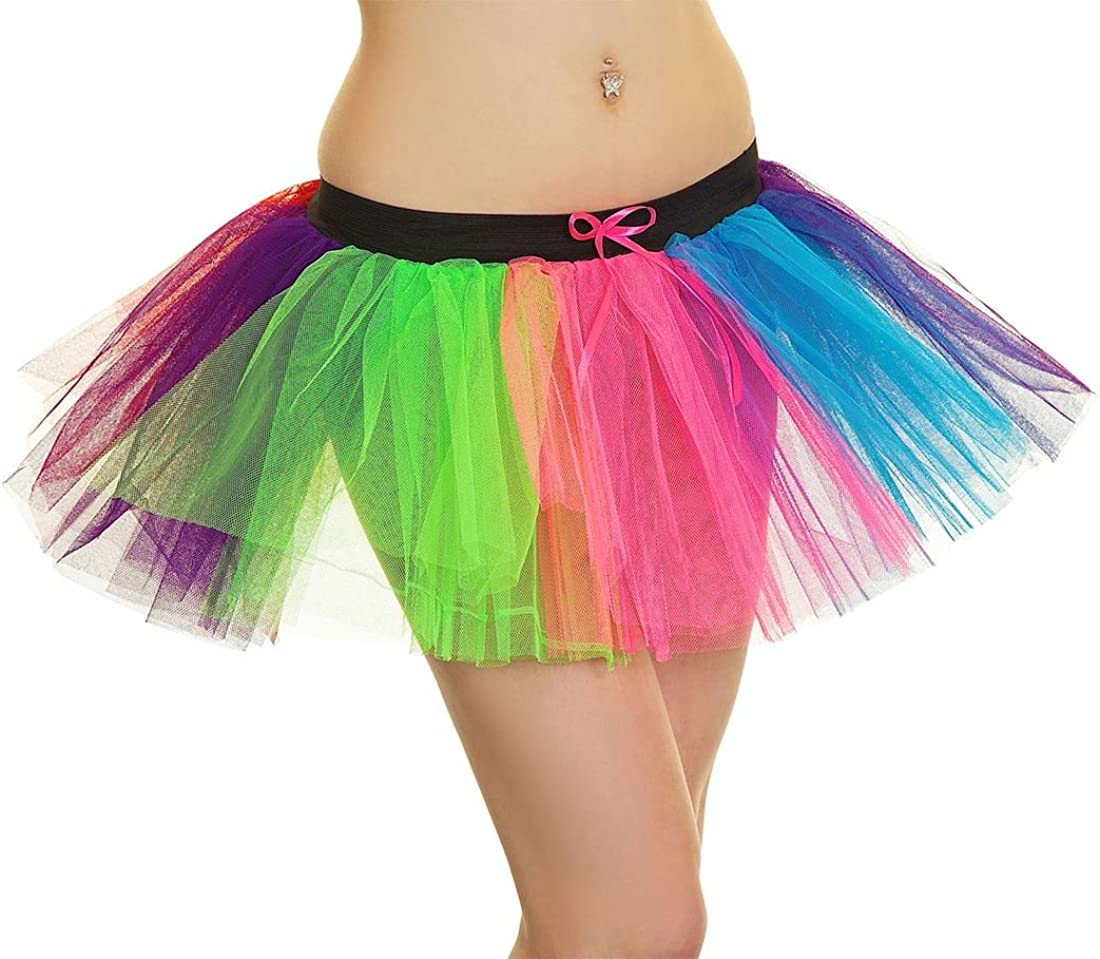 Islander Fashions Womens 3 Layer Clown Rainbow Tutu Mini Skirt ...