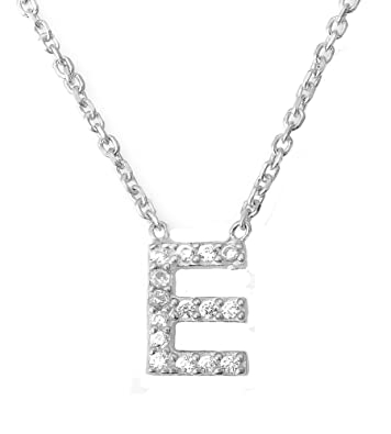 ae0eb762d0d Mini Crystal Initial Necklace Alphabet Letter (Letter E): Amazon.co.uk:  Jewellery