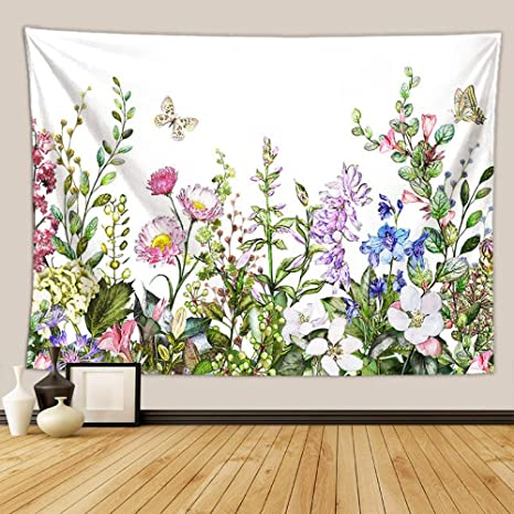 Watercolor tropical flowers wallpaper Tapestries Wall decor Tapestry Home decor Wall Art