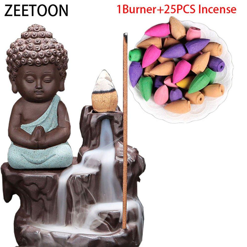 ZEETOON Ceramica Yixing Piccolo Monaco riflusso Incensiere Supporto di incenso Con 20 centesimi di incenso IB-1701
