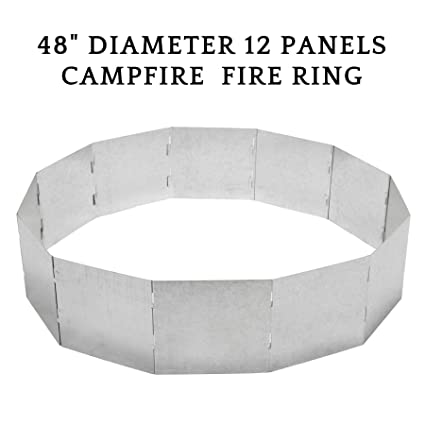 Co Z 48 Diameter 12 Panels Portable Campfire Fire Ring Large Outdoor Foldable Fire Pit Stackable Heavy Duty Steel Panel Finished In Zinc Silver