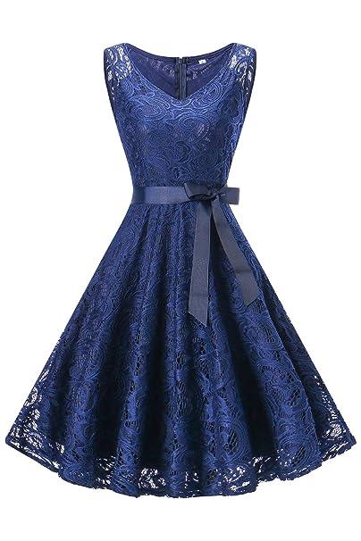 MisShow Damen Vintage Kleider Abendkleider Partykleider Dunkel Blai Knielang  Gr.S 3829a81e4f