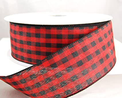 buffalo cabin check black and red checked plaid christmas ribbon 2 12