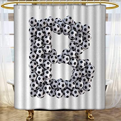 Anhounine Letter B Shower Curtains 3D Digital Printing Soccer Themed Monochrome Classical Balls Pattern Sports