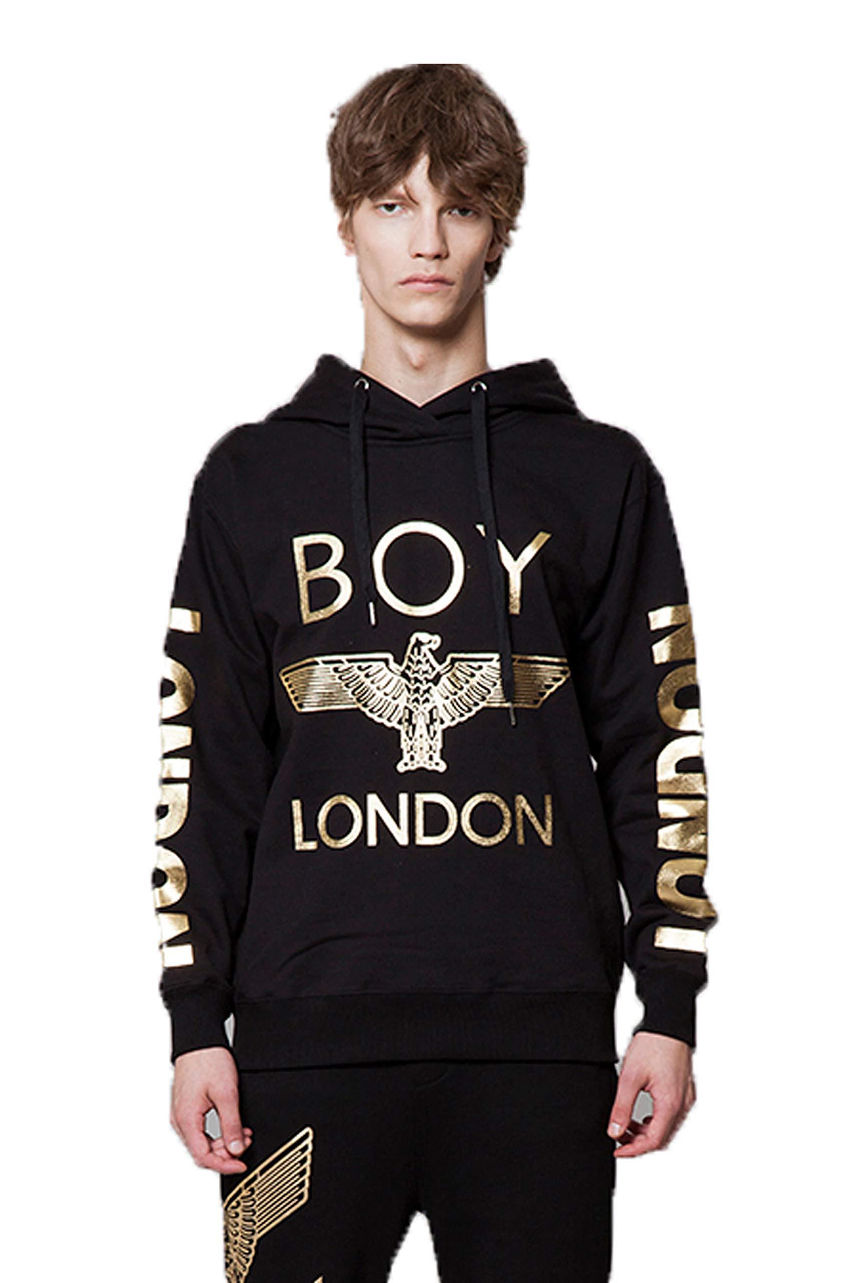 BOY LONDON '''London Printed on Sleeves Hoodie -BG3HD028 Black, X-Large