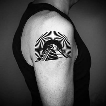 Tatuaje Temporal de Pirámide azteca (2 Piezas) - www.ohmytat.com ...