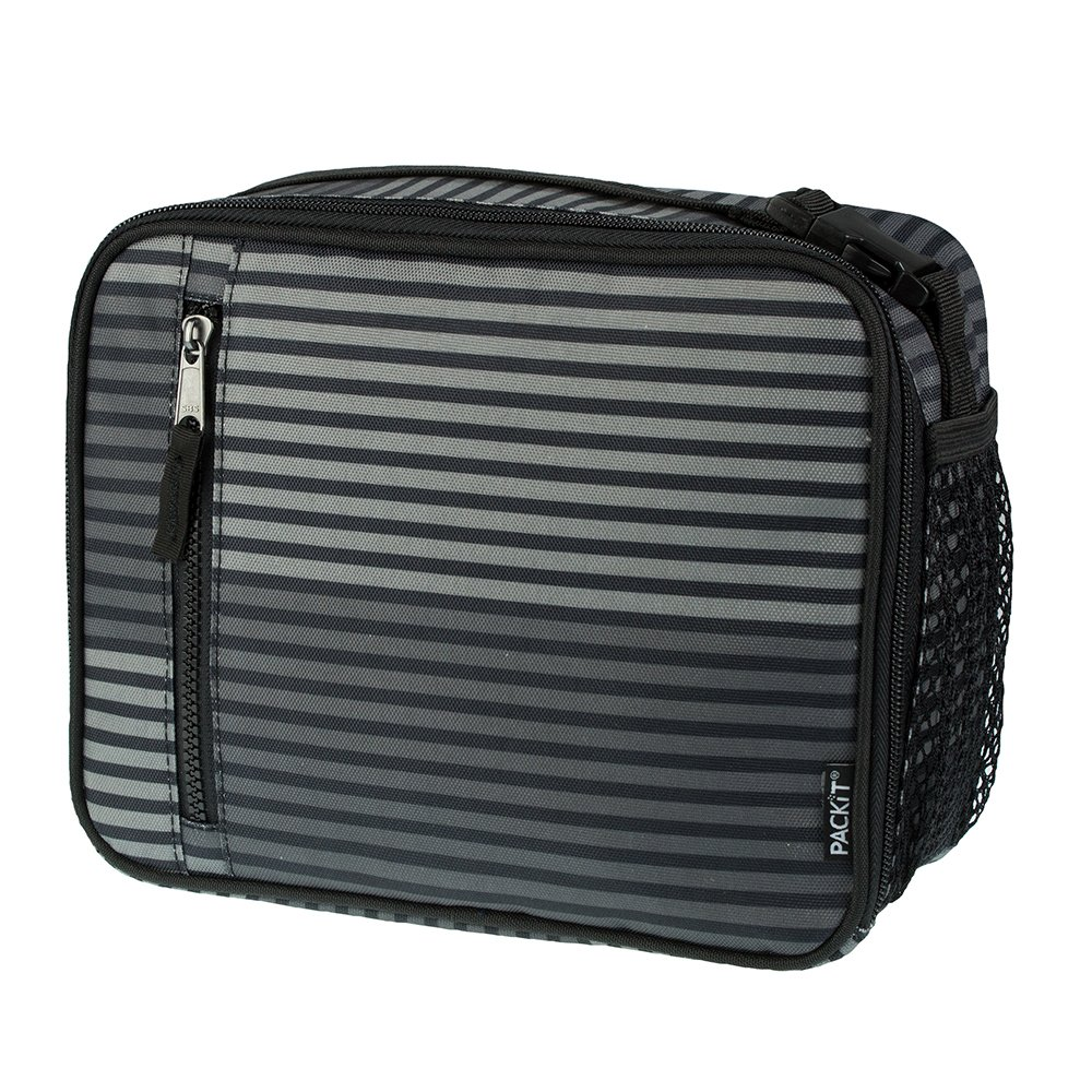 PackIt Freezable Classic Lunch Box, Gray Stripe