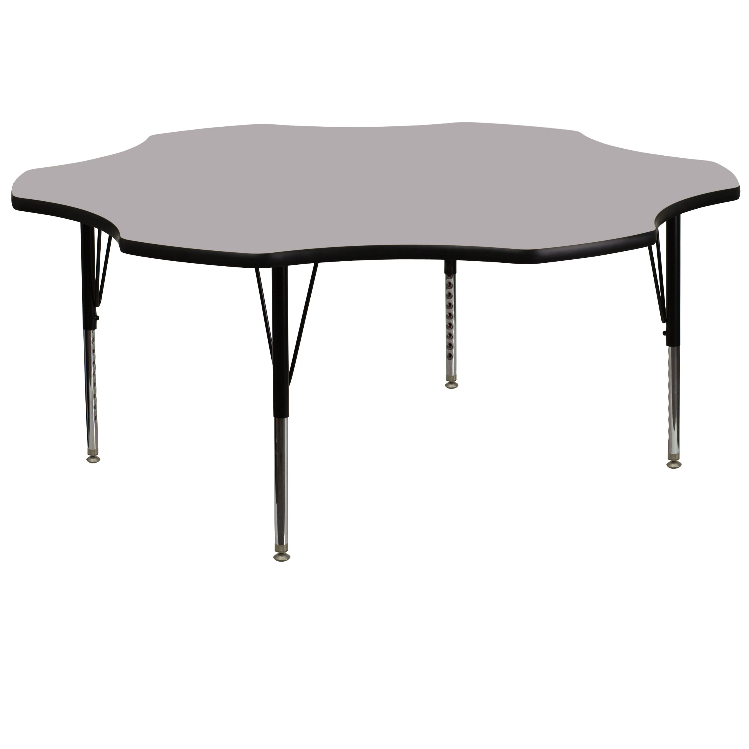 Flash Furniture 60'' Flower Grey Thermal Laminate Activity Table - Height Adjustable Short Legs by Flash Furniture