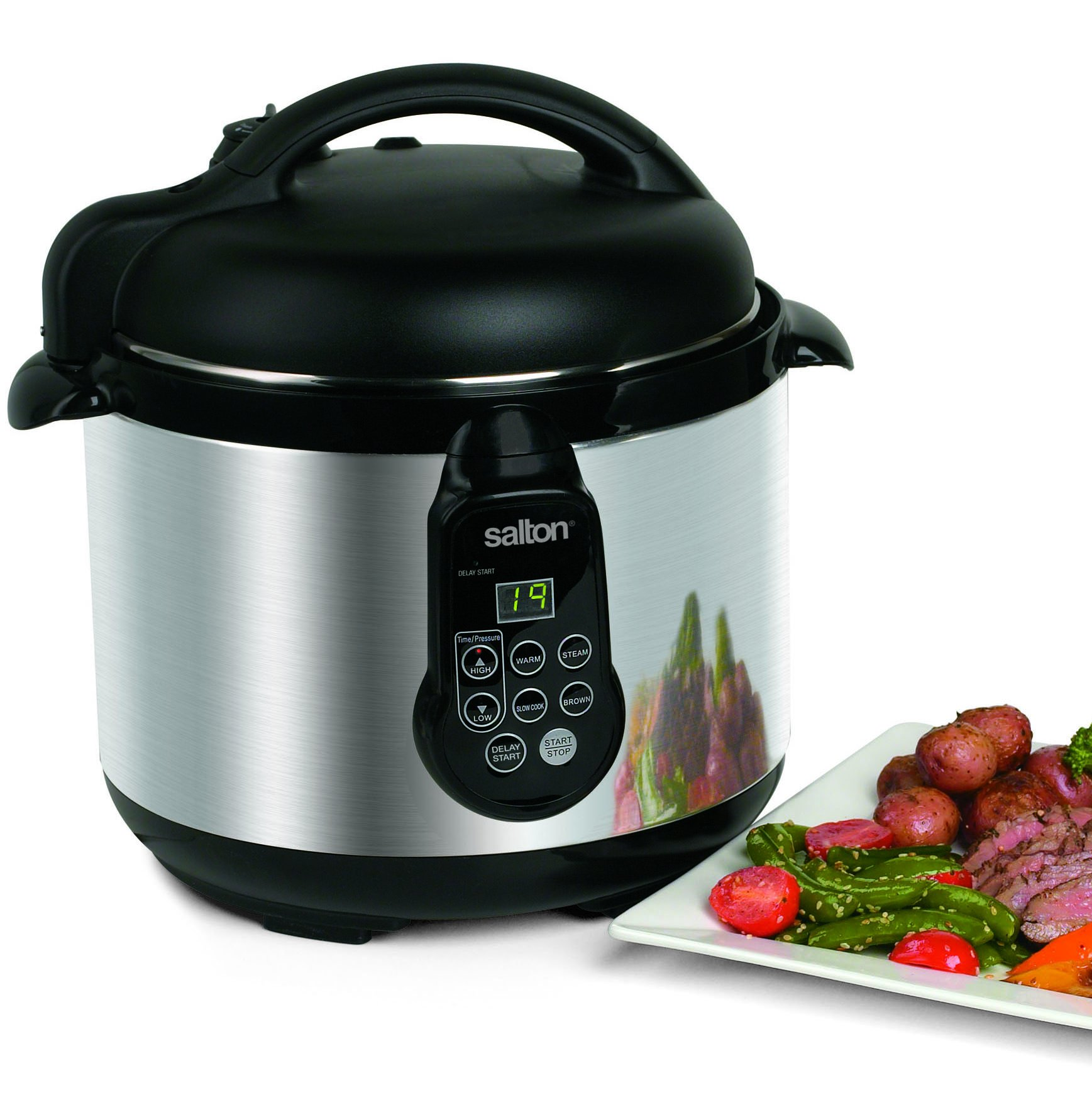 Salton PC1048 Stainless Steel Electronic Pressure Cooker, 5-Liter