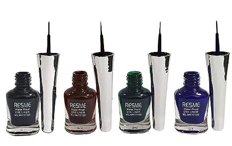 98490eeb0b7 Buy Resme Waterproof Eyeliner, Set of 4 (Black, Brown, Blue, Green ...