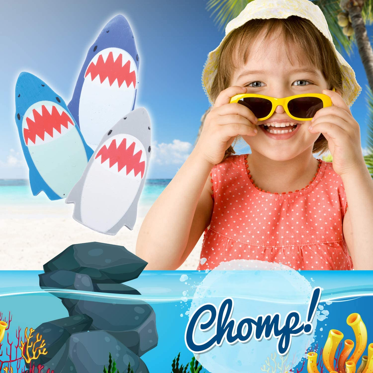 Toy Shark Erasers Kids Birthday Party U.S 12 Count Party Favors for Kids Themed Toys Supplies