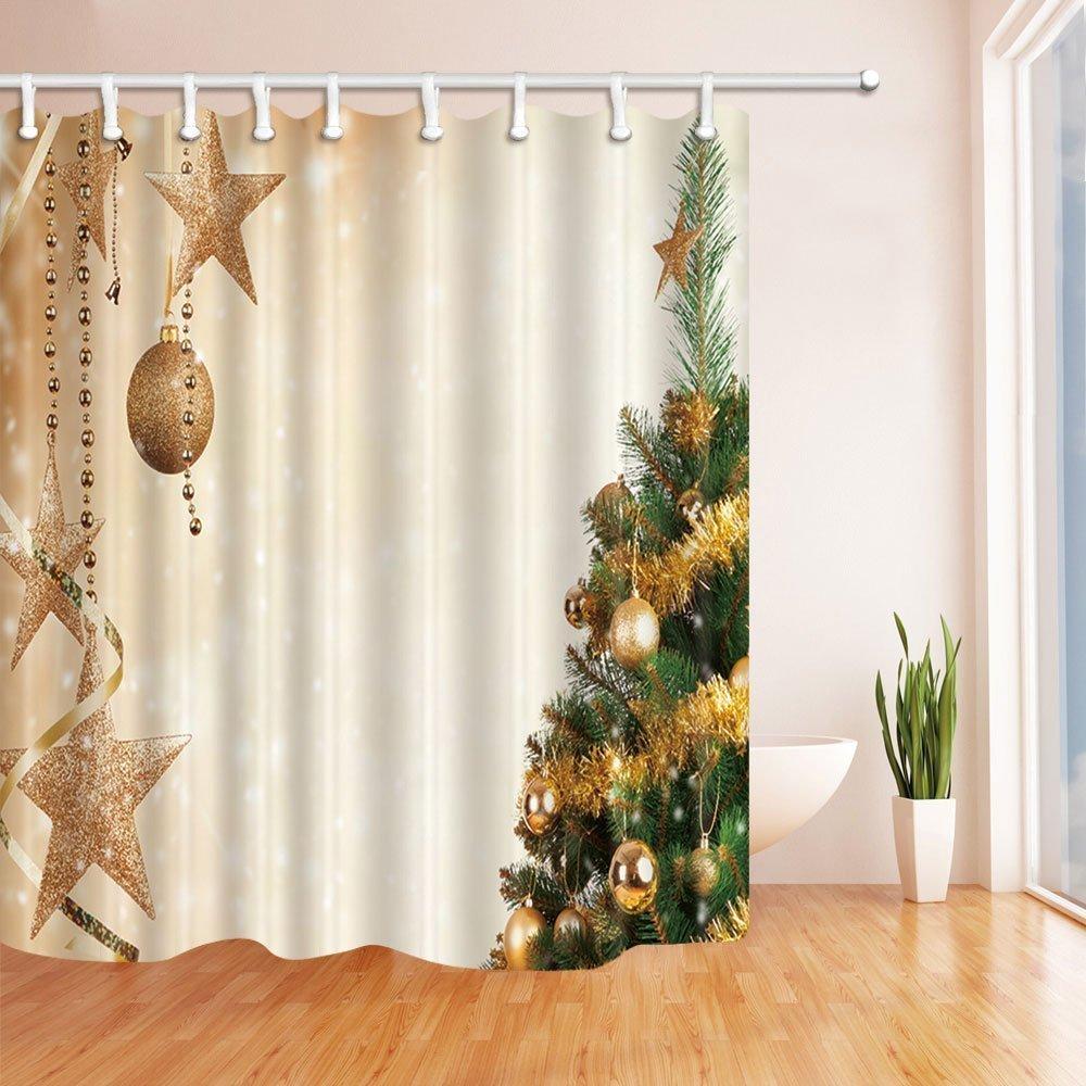 Weihnachtsduschvorhänge für Badezimmer-Weihnachtsbälle und grüne ...