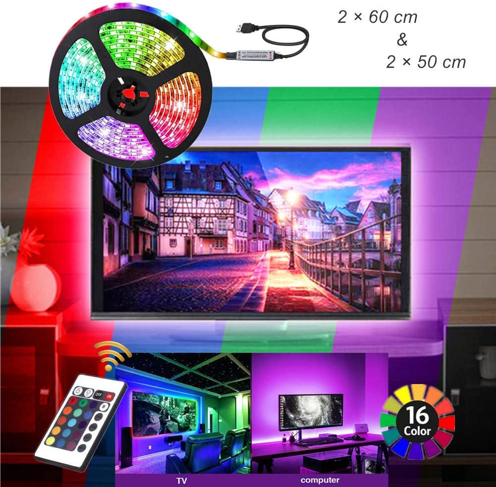 ACONDE - Retroiluminación USB para TV de 40 a 60 pulgadas, 24 ...