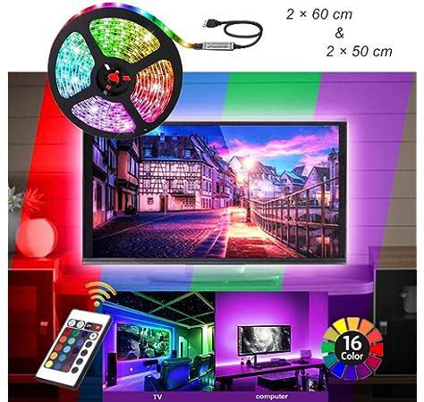 Tiras de luces LED de 1 m con mando a distancia, kit de retroiluminación USB para TV de 40 a 60 pulgadas, luces LED RGB para iluminación de bies: Amazon.es: Iluminación