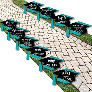product image for Teal Grad - Best is Yet to Come - Grad Cap Lawn Decorations - Outdoor Turquoise Graduation Party Yard Decorations - 10 Piece