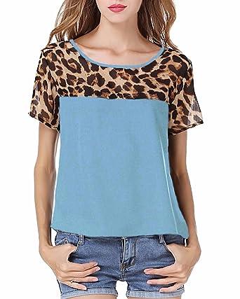 5d66b8b3a12898 ZANZEA Women's Leopard Print Short Sleeve Round Neck Casual T shirt Tops  Blouse Light Blue US