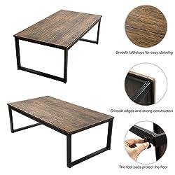 Aingoo Tavolino da caffè Moderno Tavolino da Gambe di Metallo Stile Industriale per Soggiorno 110 * 60 * 45 CM