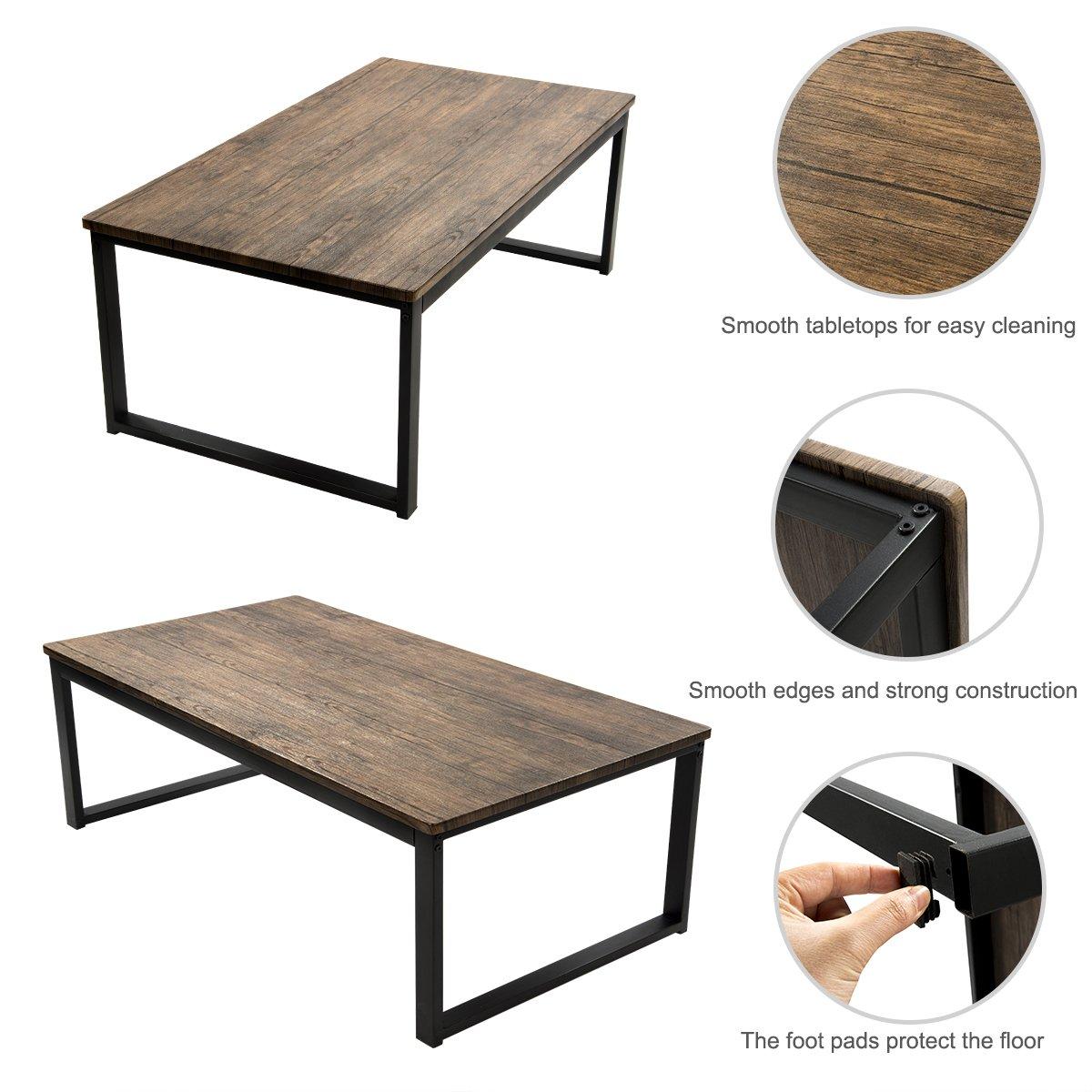 Aingoo Rustic Coffee Table Large Sofa Table Mid-Century Rectangle Metal Frame Dark Brown 43″ Wooden Grain CT-01 …