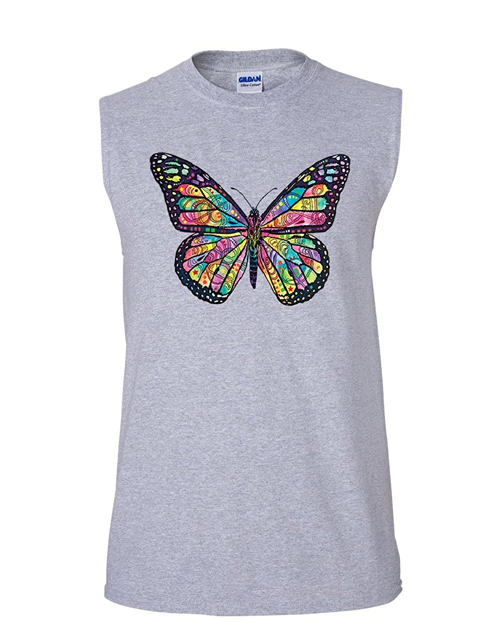 Tee Hunt Dean Russo Butterfly Muscle Shirt Multicolor Summer Wings Monarch Sleeveless