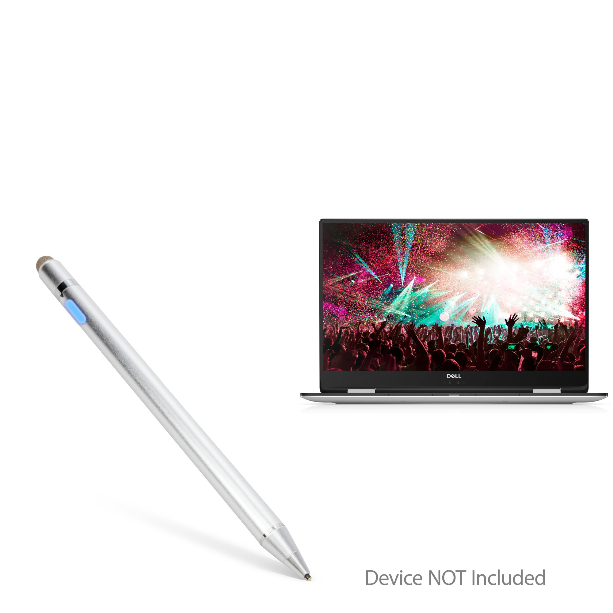 BoxWave Dell XPS 15 2-in-1 (9575) Stylus Pen, [AccuPoint Active Stylus] Electronic Stylus with Ultra Fine Tip for Dell XPS 15 2-in-1 (9575) - Metallic Silver