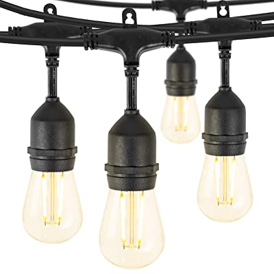 Brightown LED Outdoor Patio String Lights 48Ft Weatherproof Commercial Grade Hanging Lights with 15 Shatterproof Bulbs, UL Listed Connectable Strand for Backyard Porch Bistro Party, 2W, E26 Base, Black
