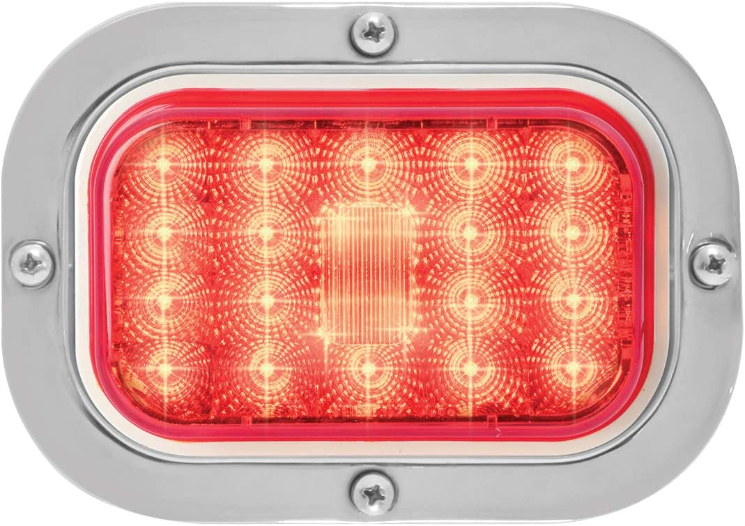 1 Pack Grand General 77483 LED Light Spyder Rectangle Red with S.S. Holding Rim and Pigtail