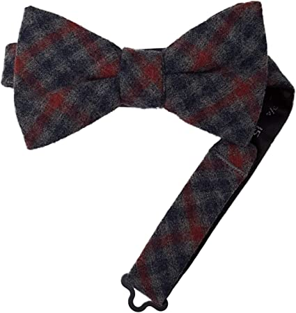 Grey//Red//Navy OS Tommy Hilfiger Mens Wool Blend Tartans Pre-Tied Bow Tie
