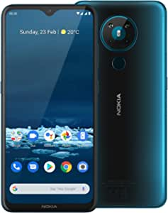 """Nokia 5.3 Android One Smartphone (Official Australian Version 2020) Unlocked Mobile Phone with Quad Camera, Large 6.55"""" Screen, 2-Day Battery, European Design and Dual SIM, 64GB, Cyan Blue"""