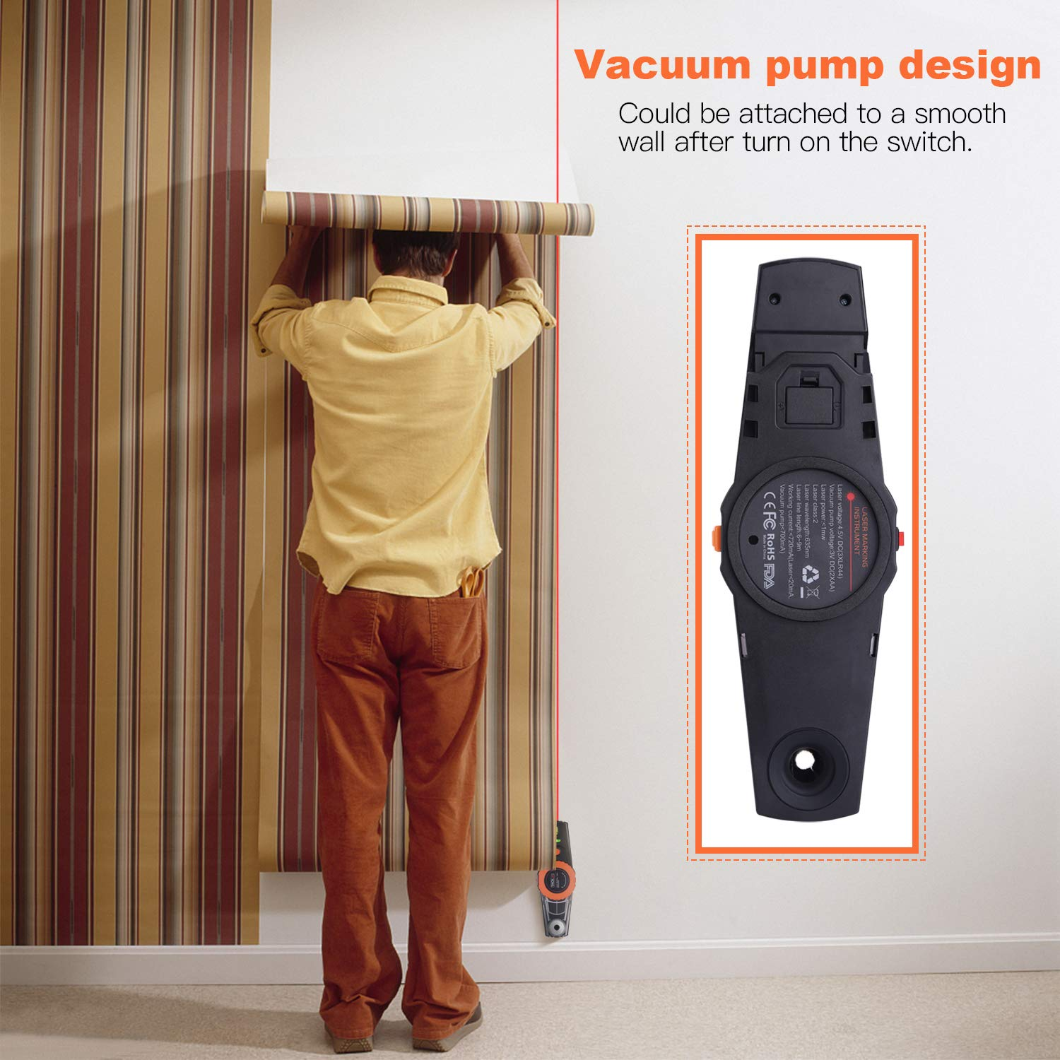 Vacuum Pump for Hanging Pictures DIY Laser Level Light Indicator Tile Alignment Batteries Included MI01 Wall Studding Laser Marking Instrument 30Ft with 2 Level Bubbles