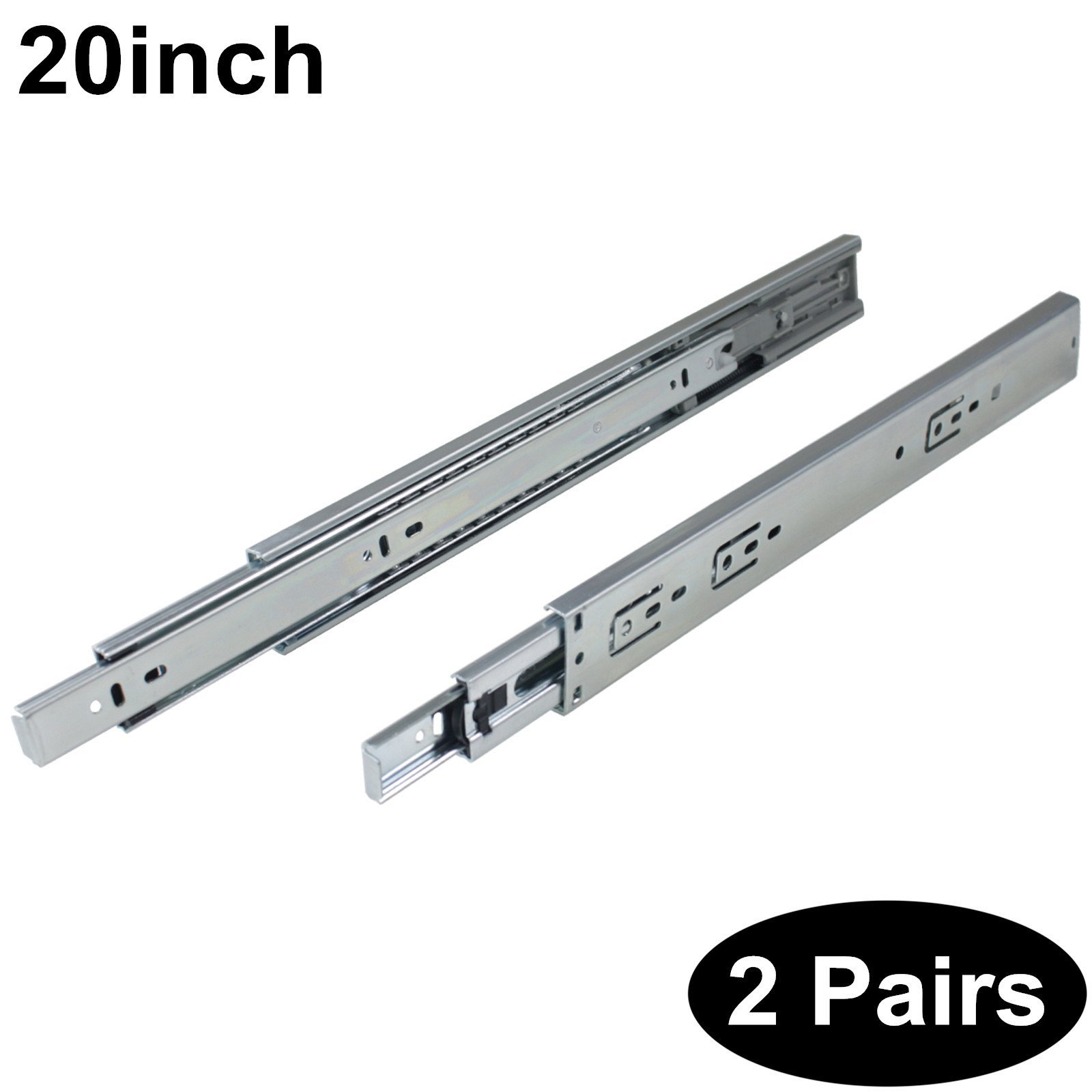 2 Pairs Soft Close DHH32-20 inch Full Extension Side Mount Drawer Slides 3-Folds Ball Bearing;100-pound Capacity