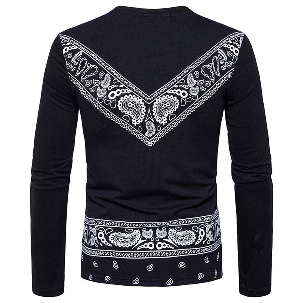 Amazon.com: YKARITIANNA Mens Autumn African Print Long Sleeved Round Collar Sweatshirts Top Blouse