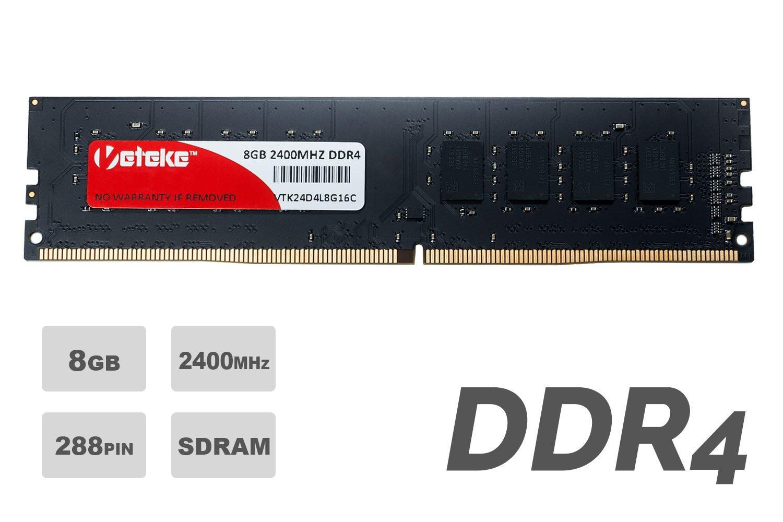 Veteke RAM 8GB DDR4 2400MHZ PC4-19200 CL17 288PIN DIMM | Memory Upgrade Module Chip For Desktops | Run Multiple Programs & Increase Performance