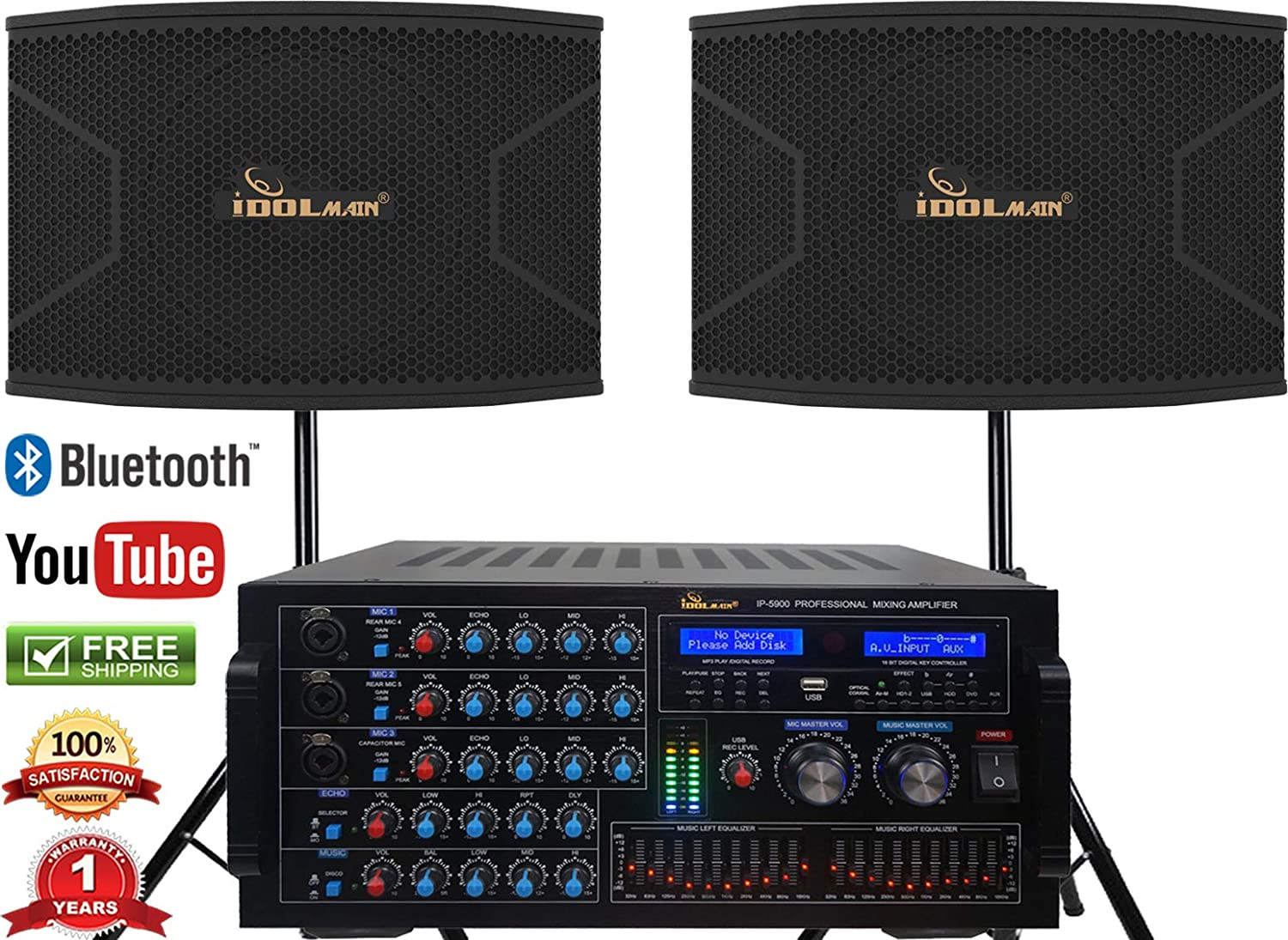 Karaoke Bundle IDOLmain 1500W 12-inch Speaker With 6000W Mixing Amplifier With Bluetooth HDMI Optical Input Recording and 10 Bands Equalizer