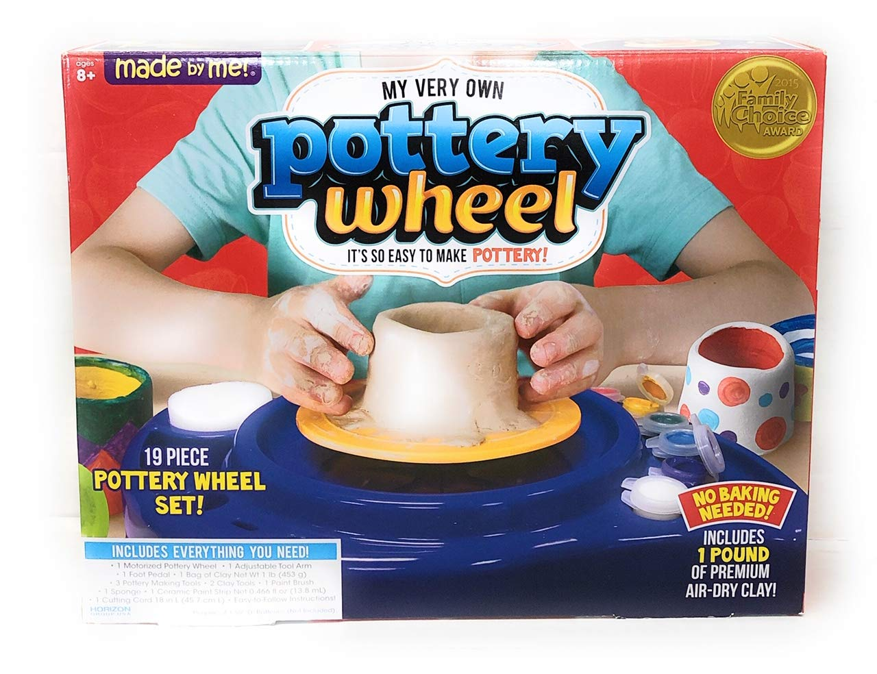 Made By Me 19 Piece Pottery Wheel Set Includes 1 Pound of Premium Air Dry Clay.