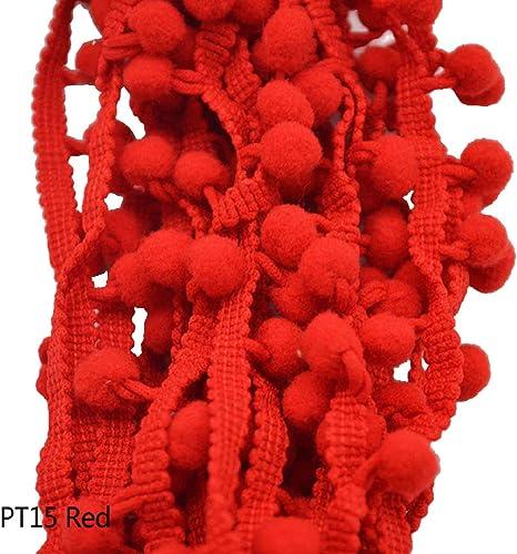 Yalulu 20 Yards Embroidered Trim Ribbon Pompoms Trim Fringe Ribbon Pom Pom Crafts Tassel Lace DIY Sewing Accessories Supplies Red