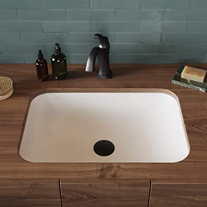 KRAUS Natura Rectangle Undermount Composite Bathroom Sink with Matte Finish  and Nano Coating in White