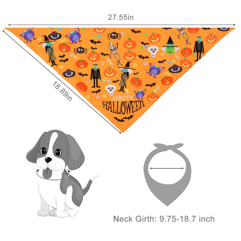 Fansport 2PCS Pet Dog Cat Bandana Triangle Cotton Dog Bibs Scarf for Halloween, Pet nekerchief Set Accessories Suitable for Pet Cats and Puppies