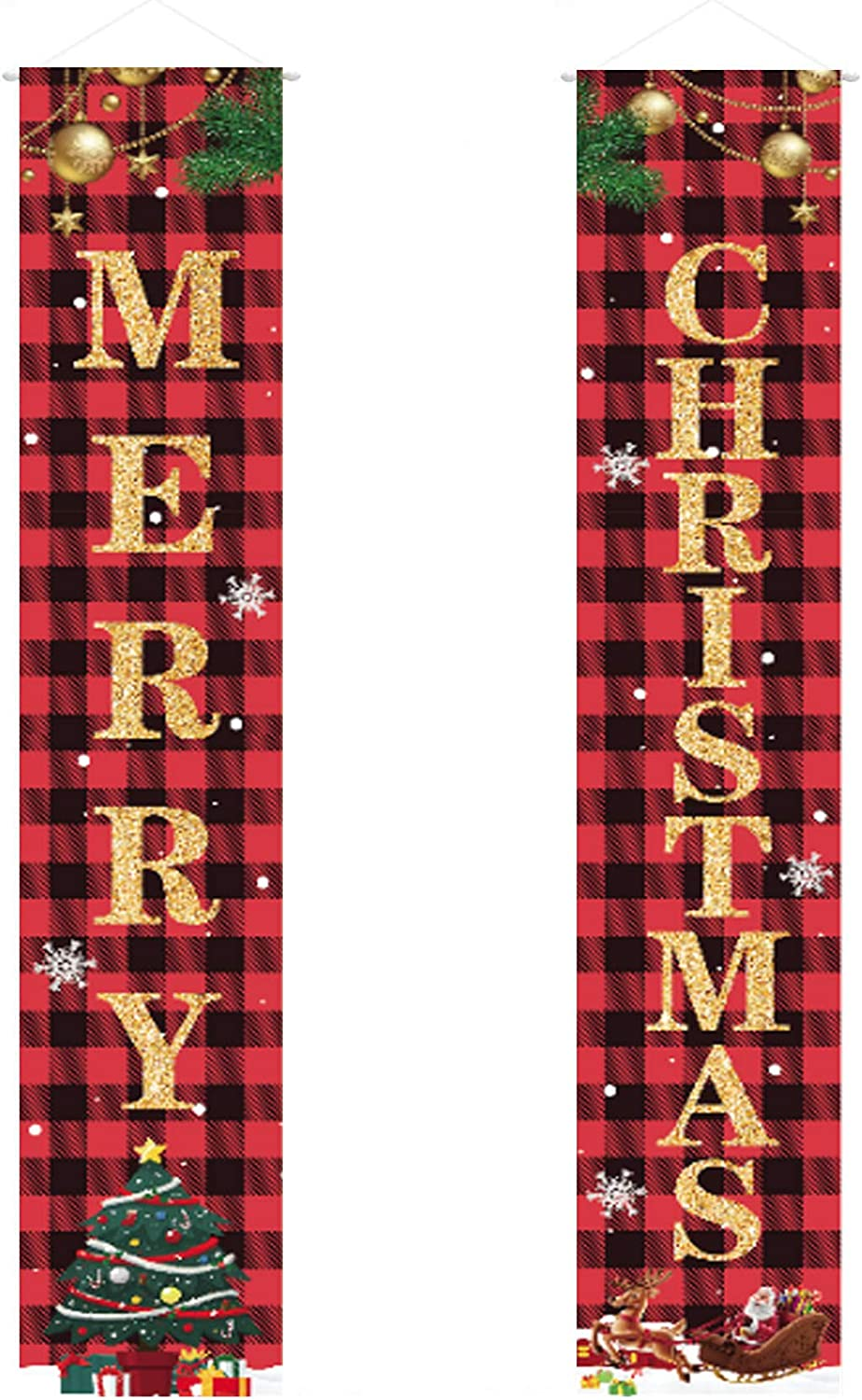 Merry Christmas Porch Welcome Sign Decor Banner Set Xmas Hanging Lovely Cartoon Decorations for Home Front Door Yard Indoor Outdoor Holiday Party