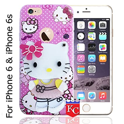 size 40 2ccc5 7bf19 KC Cute Hidden Mirror Bow Girl Soft Apple iPhone 6 & iPhone 6s Back Case  Cover for Girls - Pink Colour