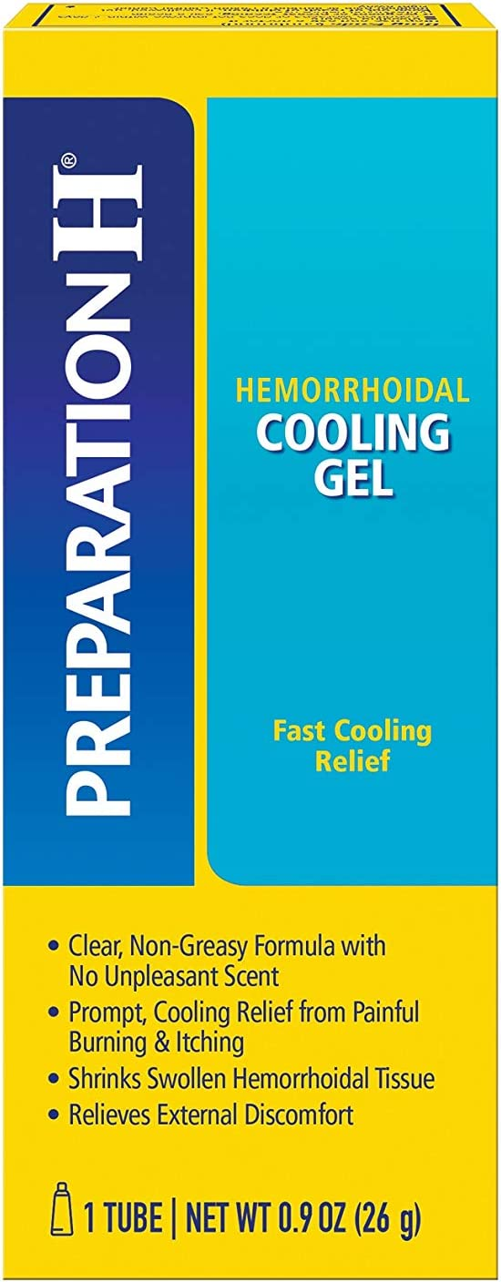 PREPARATION H Hemorrhoid Symptom Treatment Cooling Gel, Fast Discomfort Relief with Vitamin E and Aloe, Tube (0.9 Ounce): Health & Personal Care