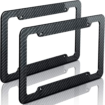 Carbon Fiber Black License Plate Tag Frame for Auto-Car-Truck