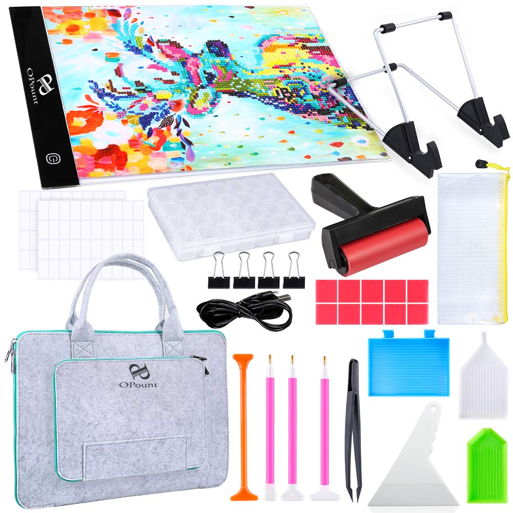 PP OPOUNT Full Range of 5D Diamond Painting Set with A4 LED Light Pad, Polyester Felt Hand Held Case Bag, Roller, Stand Holder, Diamond Embroidery Box and Diamond Painting Tools for Diamond Painting by PP OPOUNT