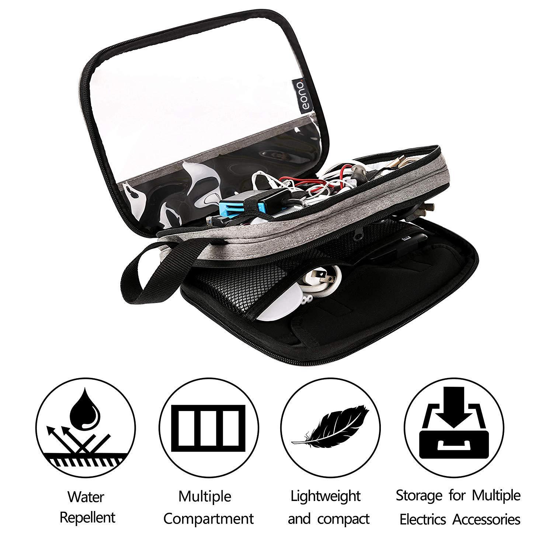 zweilagige Aufbewahrungstasche f/ür USB-Kabel Marke: Eono Essentials Organizer f/ür Ihre Elektronik Power Bank ideal f/ür die Reise,Schwarz iPad Mini Tablett bis zu 8 Festplatte